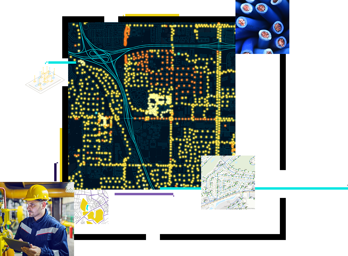 Three generic maps of various sizes with dots and lines. A man in a yellow hard hat with a tablet in his hands.